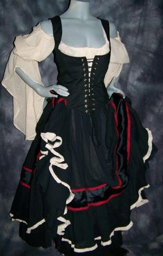 Gypsy Renaissance Pirate Gown Dress costum naughty Wench Womens Costume Equestrian by zachulascrypt on Etsy https://www.etsy.com/listing/77899677/gypsy-renaissance-pirate-gown-dress