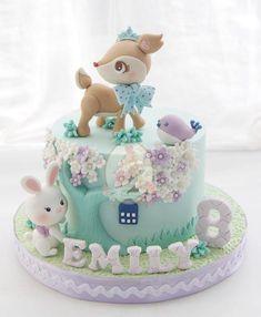 Ideas For Cupcakes Cakes Designs Decorating Ideas Cute Cakes, Yummy Cakes, Fondant Cakes, Cupcake Cakes, Fondant Baby, Rodjendanske Torte, Baby Birthday Cakes, Cake Baby, Animal Cakes