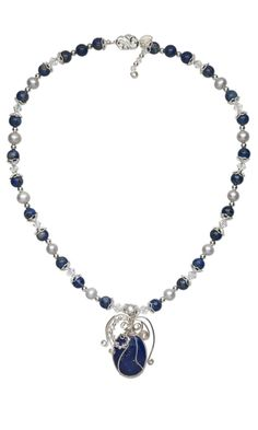 Single-Strand Necklace with Lapis Lazuli, Cultured Freshwater Pearls, Swarovski Crystal Beads, Gemstone Beads and Cabochon and Wirework