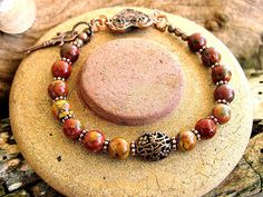 Ladies Cherry Creek Jasper and Copper Heart and Key by Mojowoman, $31.50