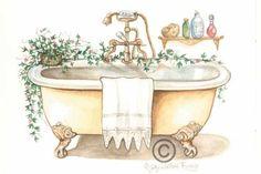Animated Gif by Scal Bathroom Artwork, Cartoon Clip, Decoupage Vintage, Canvas Artwork, Vintage Prints, Decoration, Artsy, Clip Art, Animation