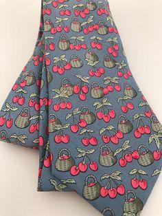 72da386adcdd MINT Cond Unworn Vintage Hermes Tie 7430 HA Basket Of Cherries Blue Pink  Red Green Silk Twill Print Soie, Hermes Novelty Tie, Made In France