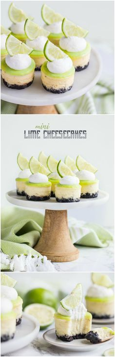 Mini Cheesecakes with Chocolate Crust Creamy cheesecake spiked with lime and topped with a tart, buttery lime curd.Creamy cheesecake spiked with lime and topped with a tart, buttery lime curd. Mini Desserts, Just Desserts, Delicious Desserts, Trifle Desserts, Easter Desserts, Italian Desserts, Food Cakes, Mini Cakes, Cupcake Cakes