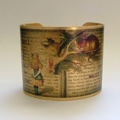 "Cheshire Cat Brass Quote Cuff Bracelet by JezebelCharms (""literary jewelry with a steampunk edge"")"