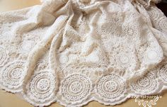 off white Lace Fabric, cotton Embroidered Lace with circles, wedding table cloth width: 120cm/47 inches, price is for one yard Gorgeous lace fabric ,perfect for wedding dress, curtain, party apparel etc. If you purchase more ,you will get an uncut piece. * Wholesale