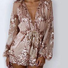 rose gold sequin romper
