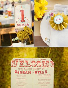 Vintage County Fair Wedding homemade signage. Know anyone wit Photoshop skills?? {Jagger Photography}