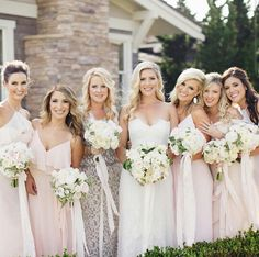 bridemaids in  diff styles
