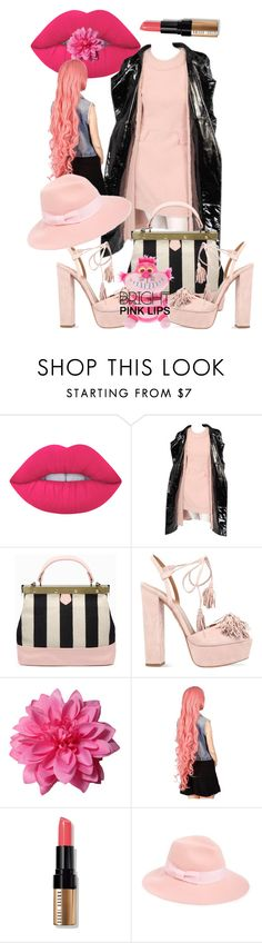 """Bright Pink Lipstick"" by ilona-828 ❤ liked on Polyvore featuring beauty, Lime Crime, Karl Lagerfeld, Aquazzura, Bobbi Brown Cosmetics, August Hat and pinklips"