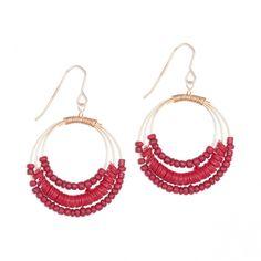 Boucles d'oreilles anneaux sequins rouges