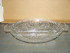 ANCHOR HOCKING BARS AND STARS CLEAR GLASS  DIVIDED RELISH TRAY DISH , VINTAGE