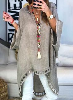 Women Boho Causal Tops V Neck Soild Half Sleeve Blouses - Trendy Outfits Half Sleeves, Types Of Sleeves, Shirt Sleeves, Daily Fashion, Boho Fashion, Womens Fashion, Fashion Styles, Fashion Sewing, Fashion 2018