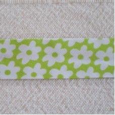 Biaislint groen bloemen - 20mm