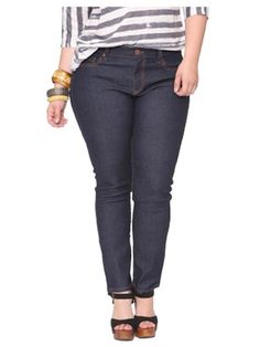 What To Look For: If you're plus-sized, a darker-rinse denim is the way to go—just make sure it's either straight-legged (slightly form-fitting) or a trouser style. Both of these looks are slimming.    Forever 21 Fab Skinny Jeans (Short), $12.50, forever21.com