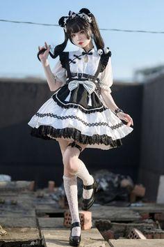 Casual Outfits, Casual Clothes, Harajuku Fashion, Lolita Dress, Traditional Dresses, Maid, Asian, Dress Set, Poses