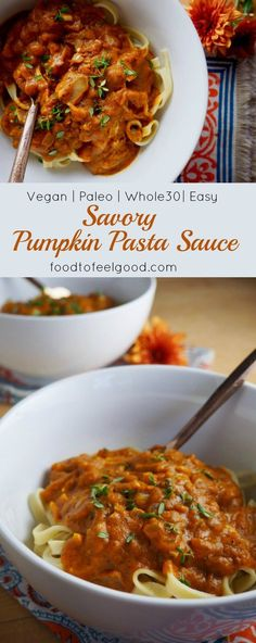 Vegan | Paleo | Whole30 | Savory Pumpkin Pasta Sauce | really easy to make and perfect for a cold night in