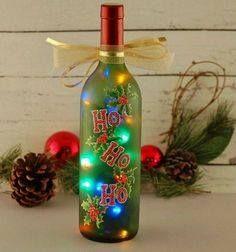 Ho Ho Ho wine bottle light, hand painted, red and green, multicolored Christmas lights(Bottle Painting Creative) Old Wine Bottles, Christmas Wine Bottles, Wine Bottle Art, Painted Wine Bottles, Lighted Wine Bottles, Bottle Lights, Decorated Bottles, Beer Bottle, Wine Glass