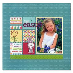 Cute Easter layout. Love how I can use up all the cutesy papers I have with these fun squares.
