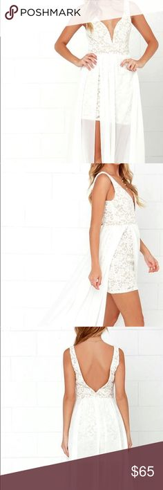 White, lace body-con dress with veil waist. Never been worn, short, off white, lace mini dress. Bought for my engagement party and ended up not wearing it. Lulu's Dresses Mini
