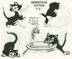 Concept art from Pinocchio (1940) - Geppetto's Kitten, Figaro