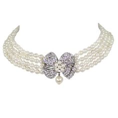 Bows Pearl & Crystal Choker Necklace, £45