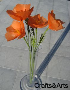 California Poppies Tissue Paper Flower - these look very real!  Try making them with instructions here: http://littlemisscraft.com/California_Poppies_Tissue_Paper_Flower-13_1