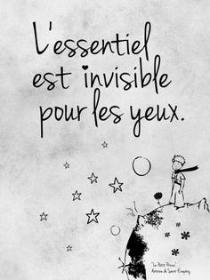 L'essentiel est invisible pour les yeaux. - What is essential is invisible to the eye. Yeux - eye, vocab