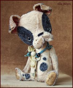 """by Alla Bears original Lg artist ooak Vintage Puppy dog collectible 8.5"""" Antique hand made toy art doll gift pet"""