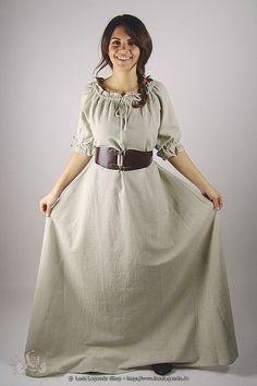 hellbraun LARP Gewandung Magd Maid Frau Mittelalter Rock weit ausgestellt