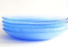 Sky Blue custom glass vessel modern glass serving plate