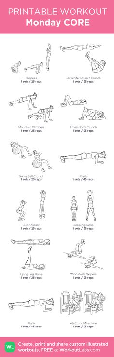 Monday CORE: my custom printable workout by @WorkoutLabs #workoutlabs #customworkout