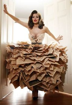 Book page dress. It's cool looking and all, but to think how many books were mutilated...what a waste.