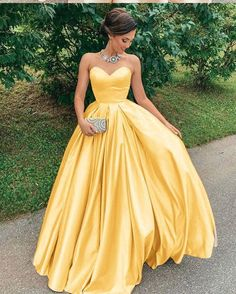 Sexy Yellow Strapless Satin Prom Dress Sweetheart Plus Size A Line Formal Evening Dresses Long Party Gowns, 493 sold by daisydress. Shop more products from daisydress on Storenvy, the home of independent small businesses all over the world. Strapless Prom Dresses, A Line Prom Dresses, Lace Evening Dresses, Event Dresses, Prom Party Dresses, Evening Gowns, Yellow Prom Dresses, Dress Prom, Yellow Evening Gown