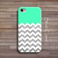 iPhone 4/ 4s and 5 Case - Chevron Glitter Mint iPhone 4 5 Cover - Geometric iPhone Hard Case