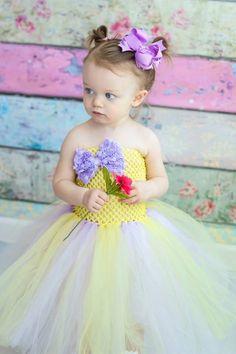 Newborn - Size 5 Lavender and Baby Yellow Tutu Dress