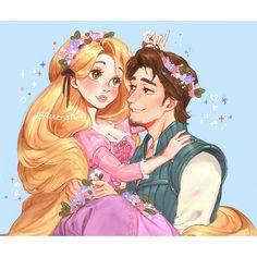 Rapunzel and Flynn Rider in their beautiful flower crowns Disney Marvel, Disney Nerd, Disney Memes, Disney Fan Art, Disney Cartoons, Disney Love, Disney Rapunzel, Disney Princess Art, Princess Rapunzel