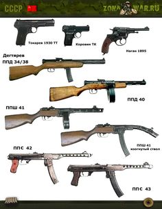 In this image, you will find USSR different types of guns in it. Ww2 Weapons, Military Drawings, Battle Rifle, Submachine Gun, Weapon Concept Art, War Machine, Machine Guns, Cool Guns, Assault Rifle