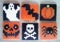 Halloween coasters hama perler beads by deco. Perler Bead Designs, Hama Beads Design, Diy Perler Beads, Hama Beads Patterns, Perler Bead Art, Pearler Beads, Fuse Beads, Beading Patterns, Hama Beads Halloween