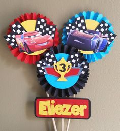 Ideas For Cars Birthday Party Decorations Lightning Mcqueen Etsy Car Centerpieces, Birthday Centerpieces, Birthday Party Decorations, Lightning Mcqueen, Disney Cars Characters, Auto Party, Flash Mcqueen, Festa Hot Wheels, Cars Birthday Parties