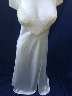 70badfffd03 Vintage Victoria s Secret S ivory Satin Sexy Embroider Lace w Slit  nightgown