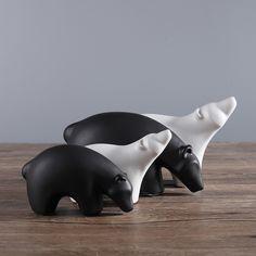 creative ceramic animal figurines white and black bear figure statues ornaments handmade modern decorative home decor