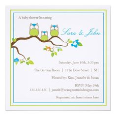 Baby Shower Invitation - Owl Family