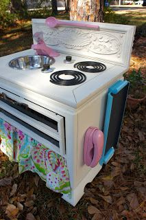 Coreyn saw this on the computer and got all excited...Guess Daddy needs to get busy!  Kid kitchen - Annie sloan old white