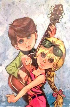 mod kitsch art by Lee Vintage Paper Dolls, Vintage Barbie, Vintage Art, Big Eyes Paintings, Wall Paintings, Kitsch Art, Sad Eyes, Retro Images, Postcard Art