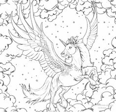 Horse Coloring Pages, Adult Coloring Book Pages, Cute Coloring Pages, Coloring Pages For Girls, Free Coloring, Coloring Books, Unicorns And Mermaids, Unicorn Art, Colorful Drawings