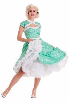 Bunny - 50s Melanie Sweetheart Swing Dress in Green