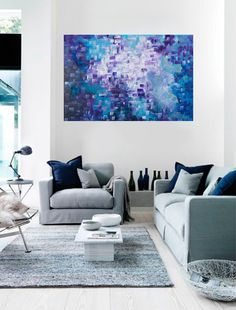 colorful modern Original large blue purple Abstract by QiQiGallery