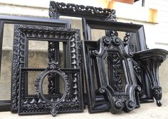 Large Black Picture Frame Set with Mirror Shelf Plaque Vintage. $109.00, via Etsy.
