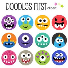 Items similar to Monster Friends Badges Collage Sheets for Scrapbooking Card Making Cupcake Toppers Paper Crafts Digital Collage Sheet on Etsy Monster Birthday Parties, Monster Party, Smileys, Puppy Crafts, Monster Treats, Easy Coloring Pages, How To Make Cupcakes, Animal Crafts For Kids, Cute Monsters