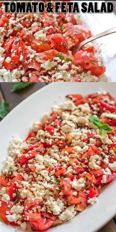 pico degallo recipes This simple Tomato Feta Salad is one of the best, easiest salads youll make! Fresh herbs, succulent tomatoes, creamy feta cheese and a touch of balsamic reduct Healthy Salad Recipes, Vegetarian Recipes, Cooking Recipes, Healthy Tuna Salad, Pork Recipes, Cooking Tips, Easy Salads, Summer Salads, Feta Salat
